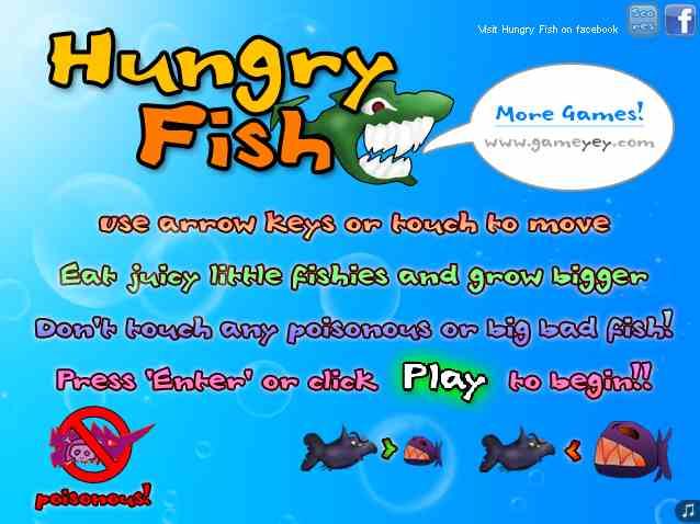 играть в голодную рыбу